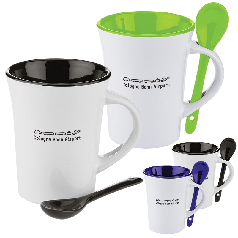 Famous 10 Oz. Two-Tone Ceramic Mug w/ Matching Spoon | Jetline Swag HO67