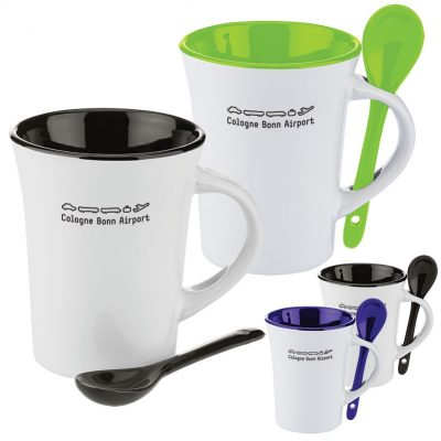 10 Oz. Two-Tone Ceramic Mug w/Matching Spoon