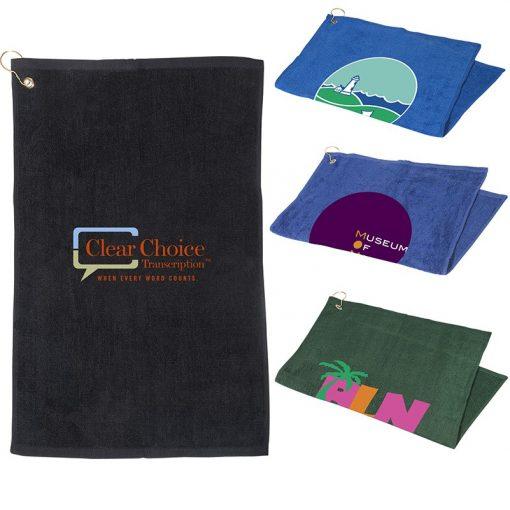 "Golf Towel w/Grommet & Hook (16""x25"")"