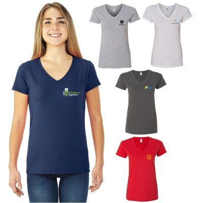 Ladies Fruit of the Loom® Sofspun® Junior Fit V-Neck T-Shirt
